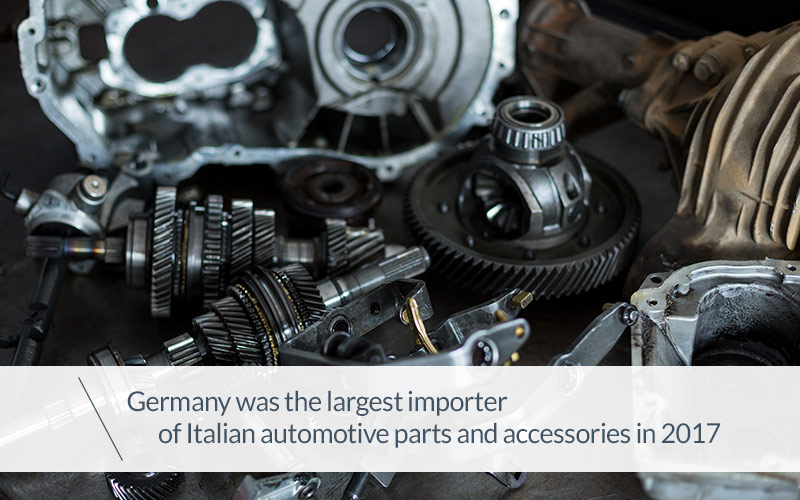 Germany was the largest importer of Italian automotive parts and